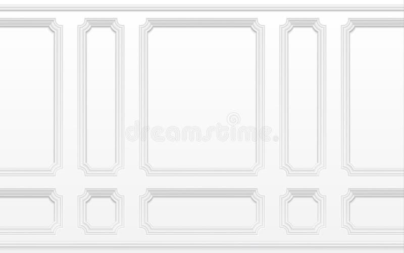 Mur blanc avec les cadres de moulage Intérieur classique avec les panneaux de moulage Fond sans joint de vecteur illustration de vecteur