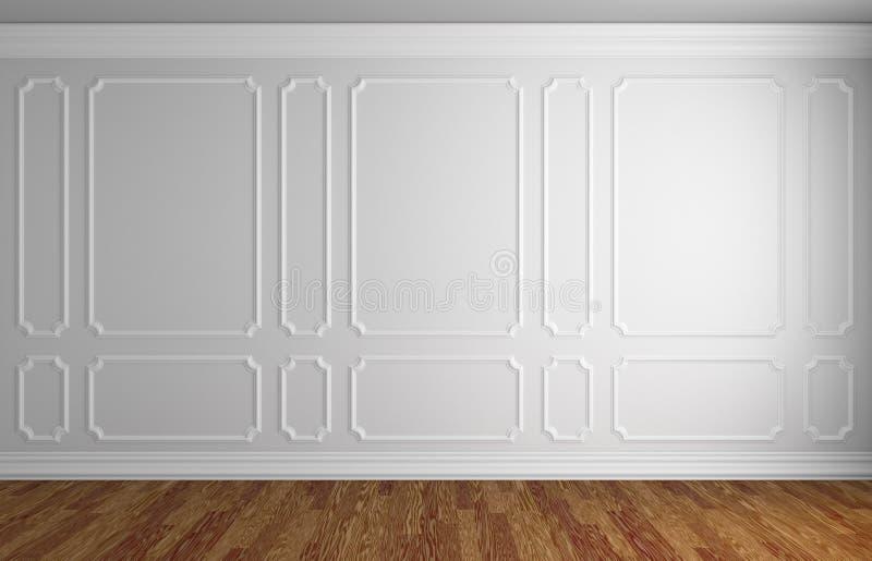 Download Mur Blanc Dans La Pièce Classique De Style Avec Le Parquet Illustration Stock - Illustration du décoration, blanc: 77151695
