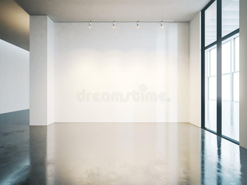 Mur blanc vide dans la galerie avec le plancher en béton photos stock