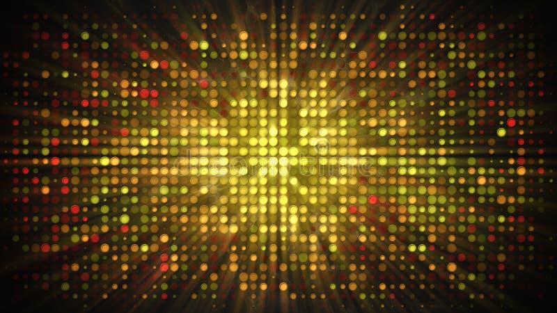 Mur brillant de disco d'or avec les lumières clignotantes et le Ba abstrait de fumée illustration de vecteur
