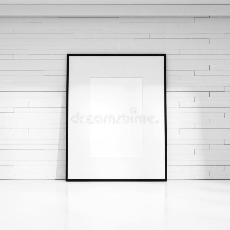 Mur décoratif blanc avec le cadre de tableau vide photo stock