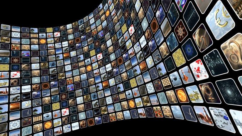 Mur d'image avec beaucoup d'icônes sur l'écran rendu 3d illustration libre de droits