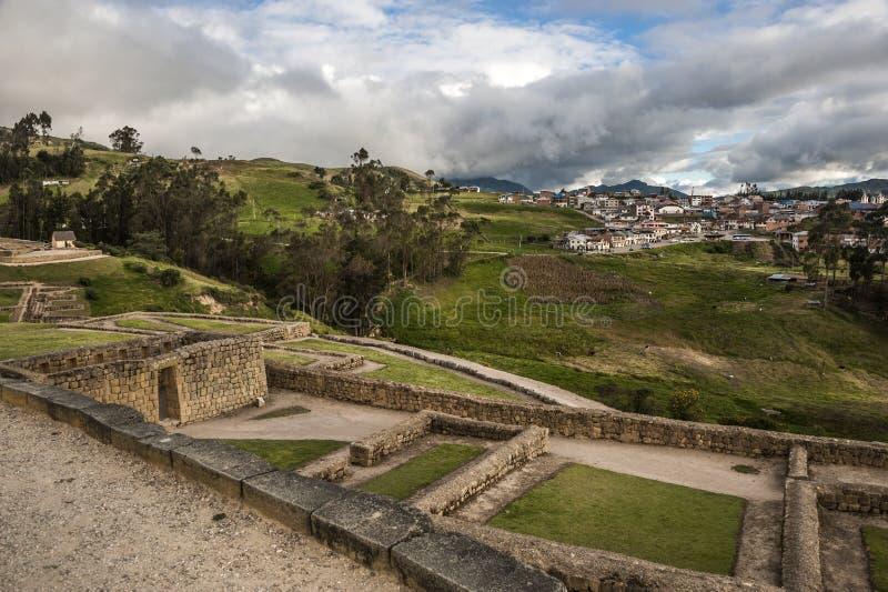 Mur d'Ingapirca, d'Inca et ville, Equateur image libre de droits