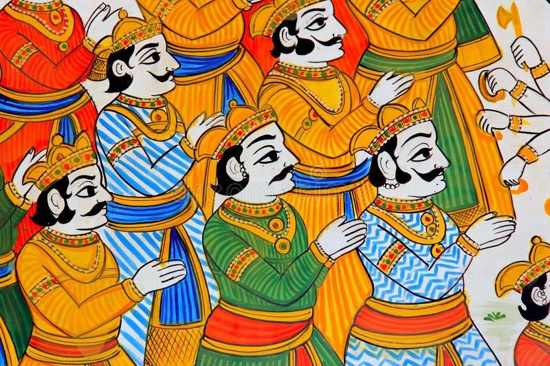 mur d'udaipur de l'Inde de fresque