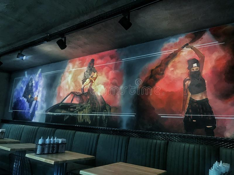 Mur d'un restaurant photo libre de droits