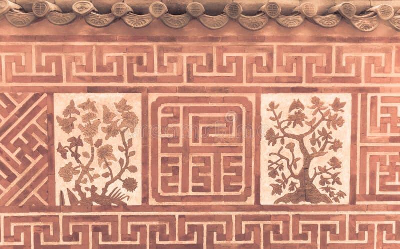 Mur de briques antique asiatique de terre cuite photographie stock libre de droits