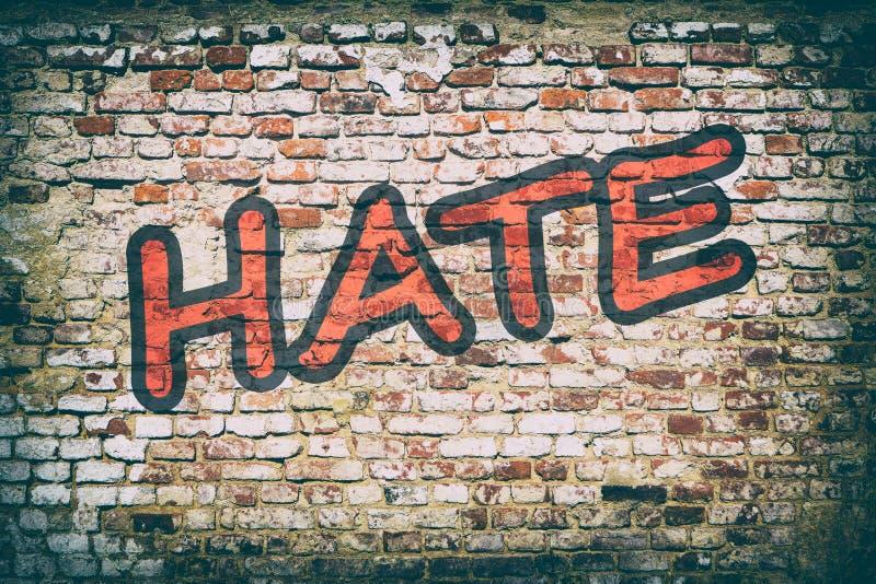 Mur de briques avec le graffiti de haine de mot image libre de droits