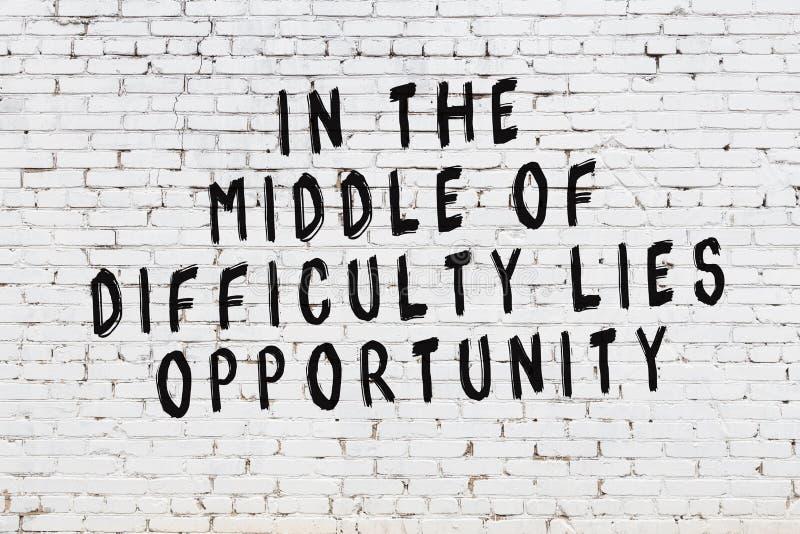 Mur de briques blanc avec l'inscription de motivation noire peinte de citation illustration stock