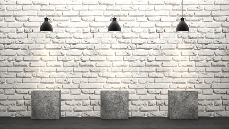 Mur de briques blanc avec le rendu des lustres 3D illustration libre de droits