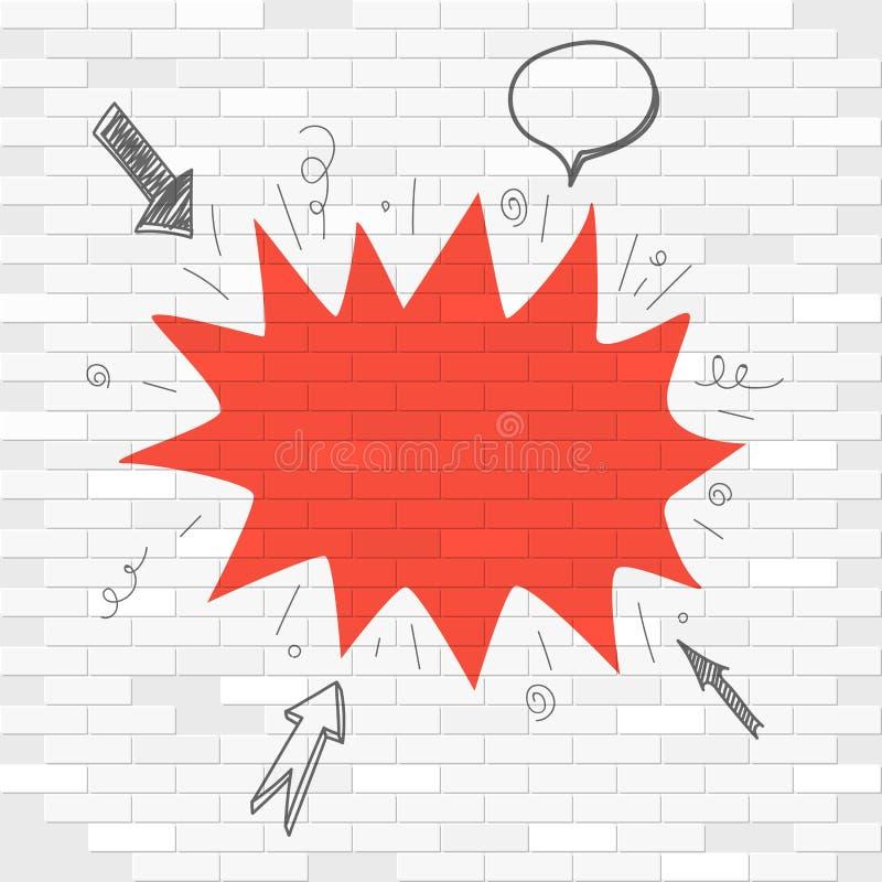 Mur de briques blanc et label rouge de tache illustration libre de droits