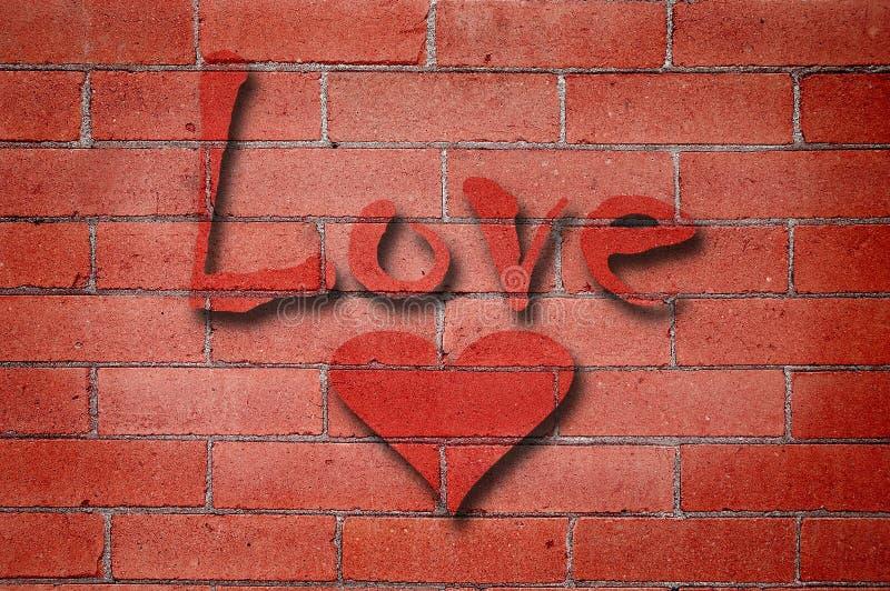 Mur de briques d'amour photographie stock