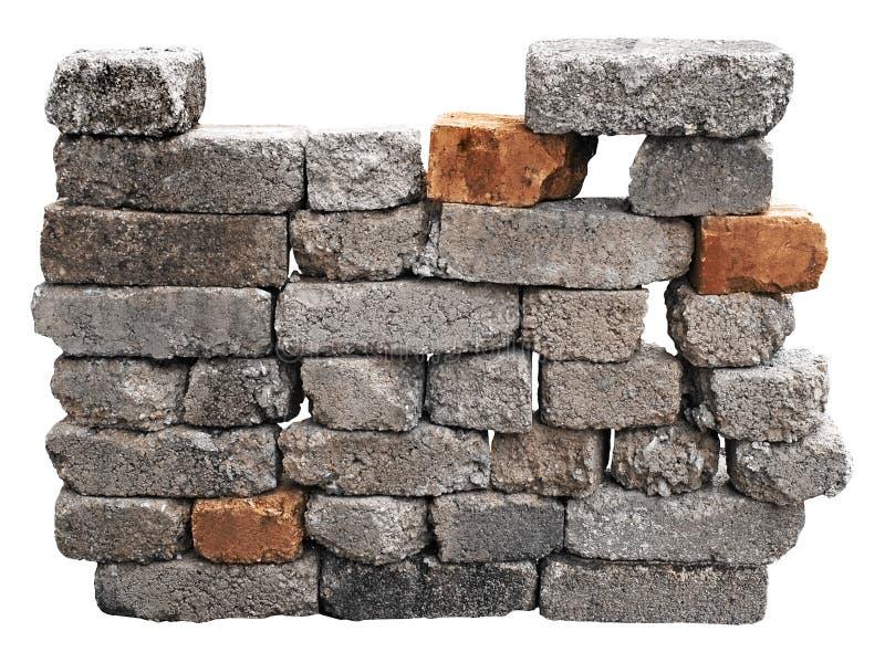 Mur de briques d'isolement avec le chemin de découpage images stock