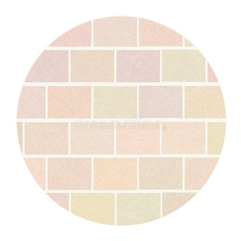Mur de briques dans le cadre rond blanc avec la texture rayée, grunge, brique des briques légères ordinaires illustration libre de droits