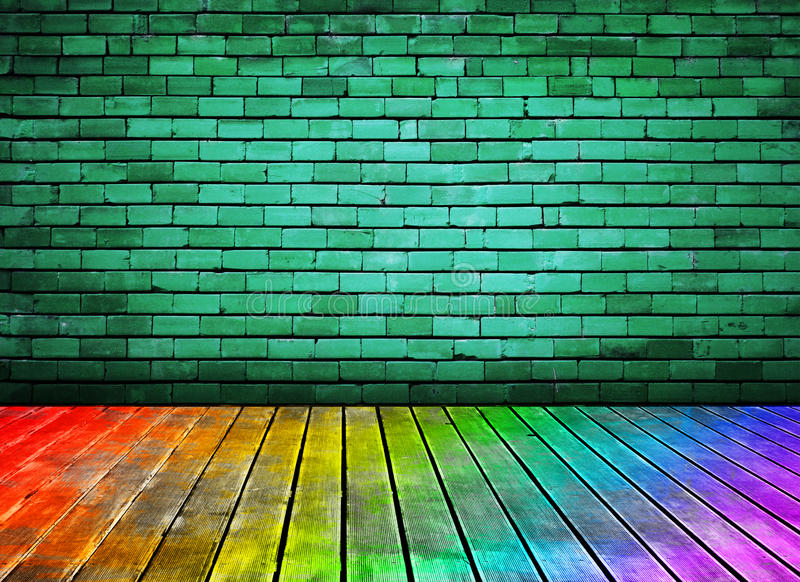 Mur de briques de cru et texture en bois colorée d'étage illustration stock