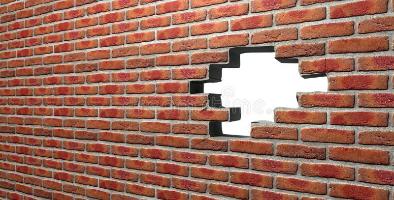 Mur de briques de visage avec le trou photos libres de droits