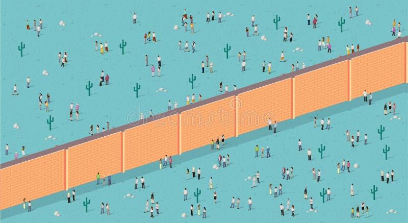 Mur de briques divisant des personnes illustration stock