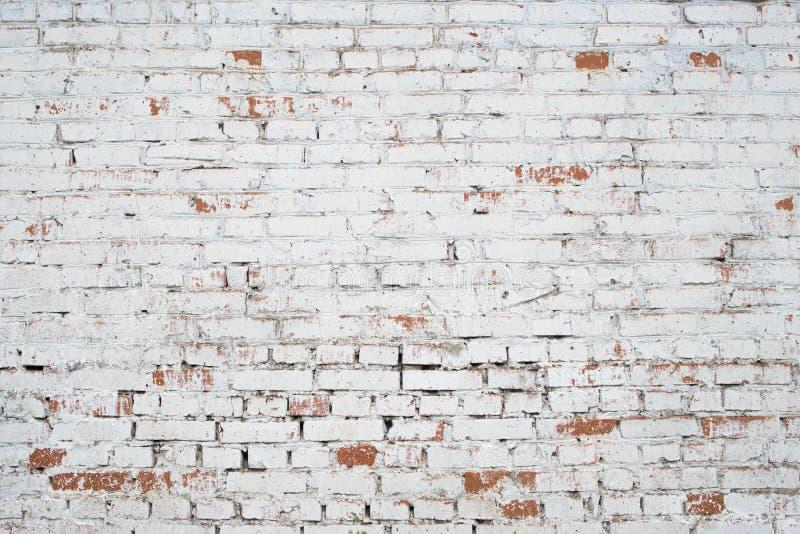 Mur de briques grunge blanc criqué texturisé photos stock