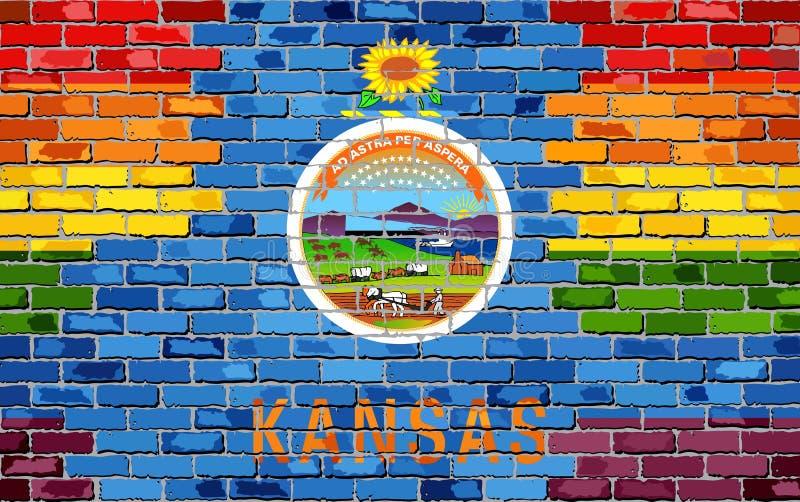 Mur de briques le Kansas et drapeaux gais - l'illustration, drapeau d'arc-en-ciel sur la brique a donné au fond, au drapeau grung illustration stock