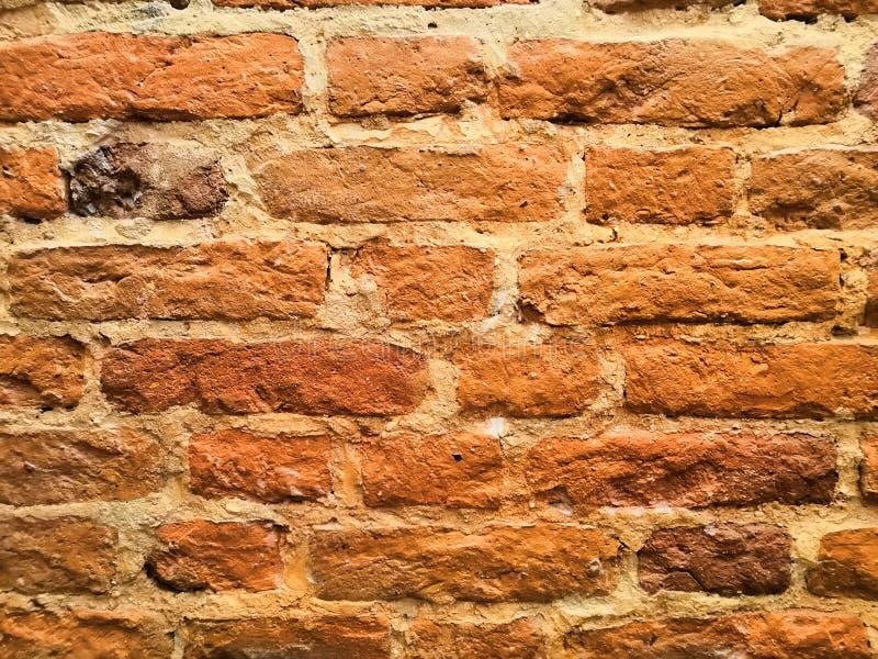 Mur de briques rouge sous la lumière jaune image libre de droits