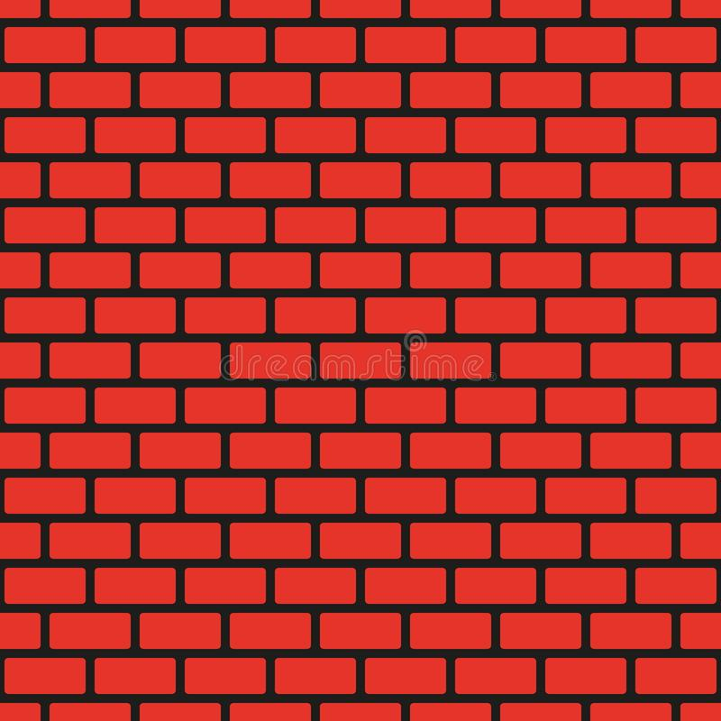 Mur de briques sans couture rouge, couture noire Reproduction continue du modèle de texture Illustration de vecteur illustration de vecteur