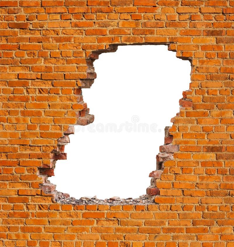 Mur de briques de trou photos stock