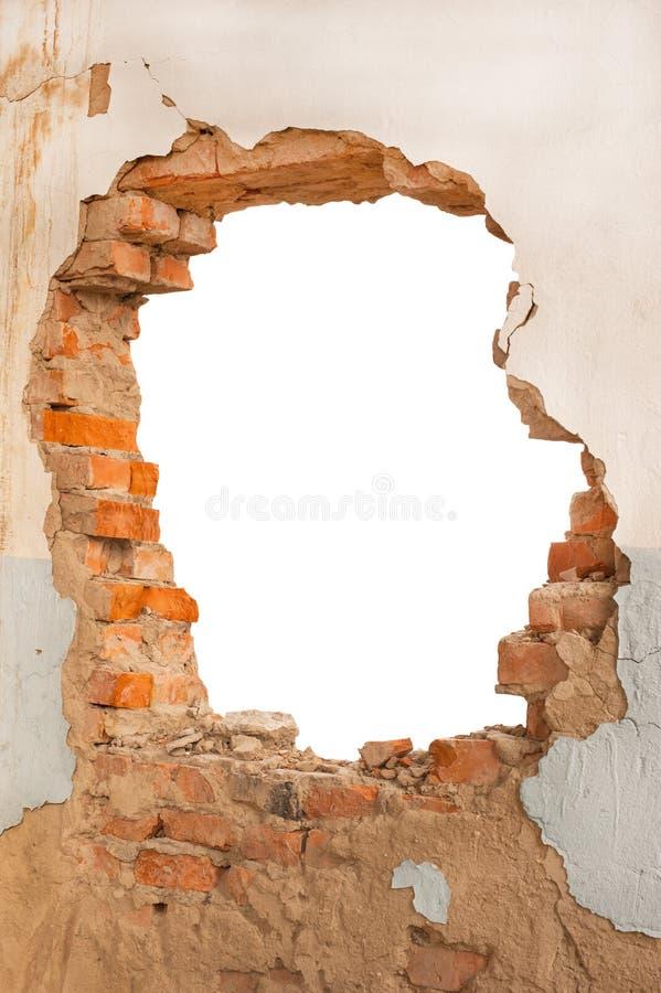 Mur de briques de trou images libres de droits