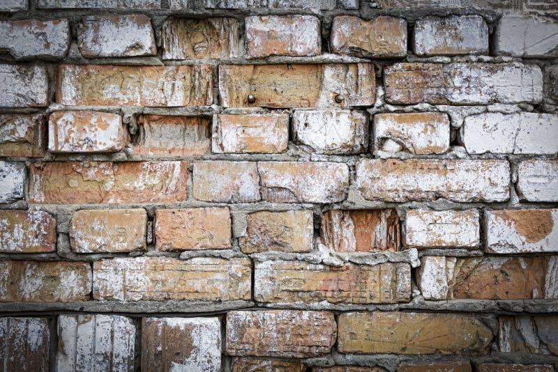Mur de briques vieux, texture, rouge, plâtre, fond, béton, bri photos stock