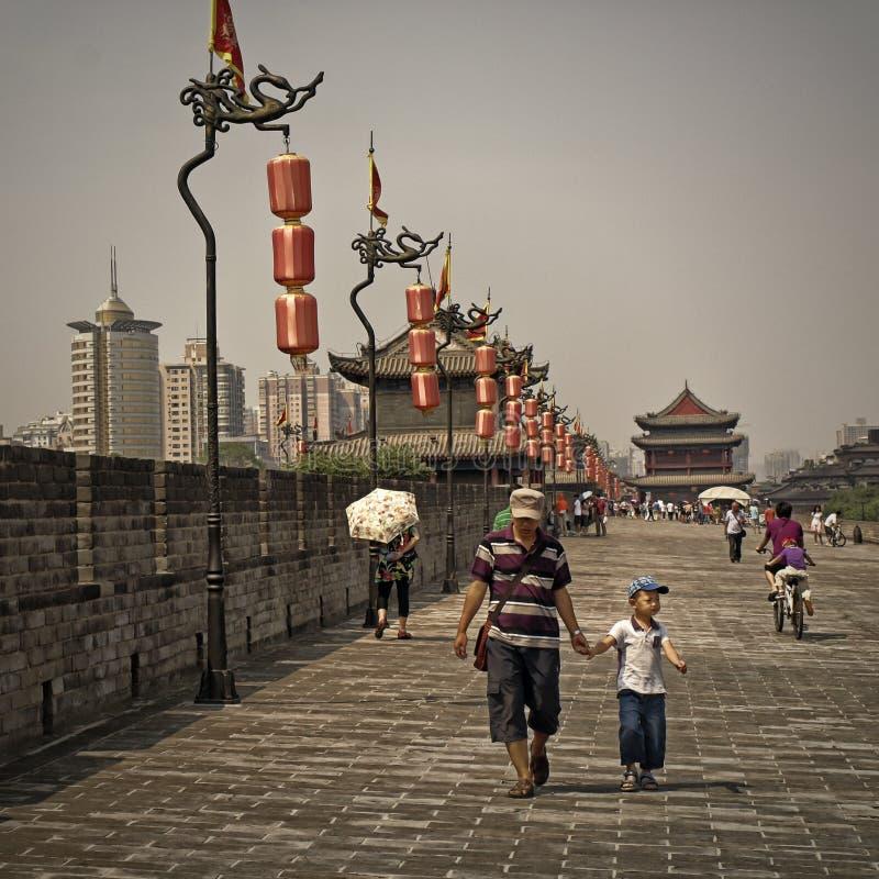 Mur de centre de la ville de Xian, Chine photo libre de droits