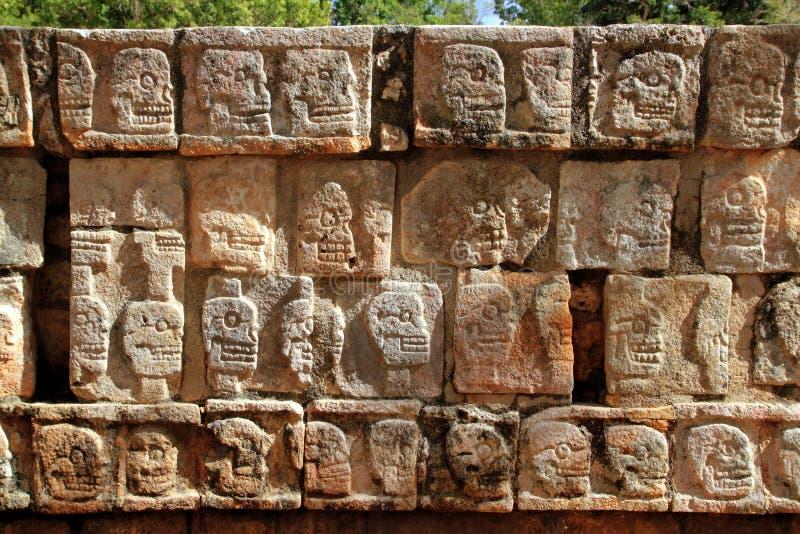 Mur de Chichen Itza Tzompantli de Maya de crânes images libres de droits