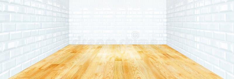 Mur de dalle de brique et plancher de parquet blancs en bois photo stock