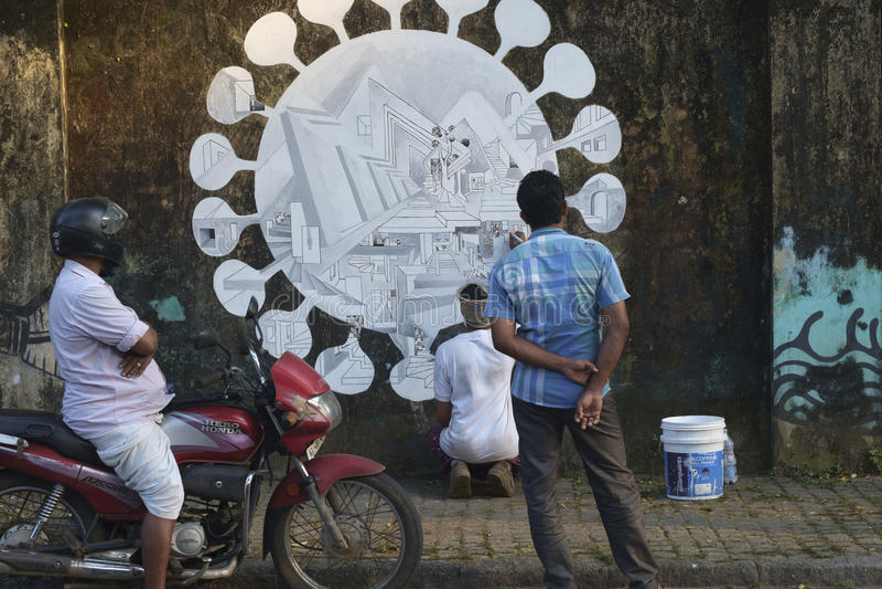 Mur de Fortcochin pour Binnale Cochin photographie stock