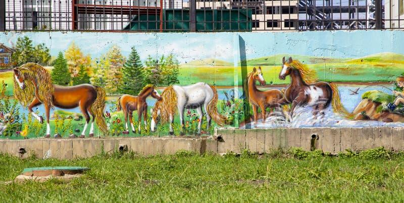 Mur de graffiti sur la galerie publique de rue images libres de droits