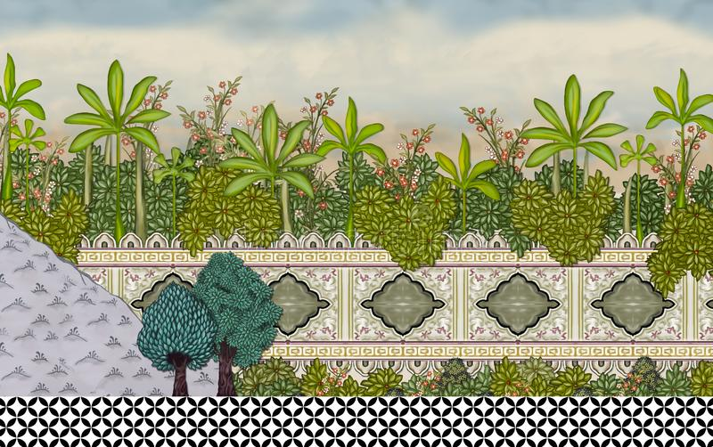 Mur De Jardin De Mughal Avec L Illustration D Illustration