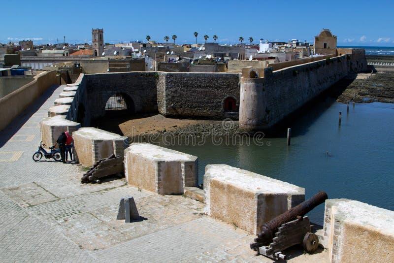 Mur de la défense de jadida d'EL, Maroc image libre de droits