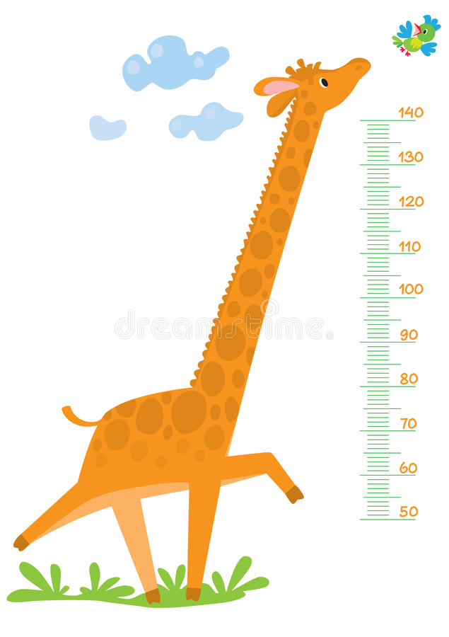 Mur de mètre avec la girafe et l'oiseau illustration libre de droits