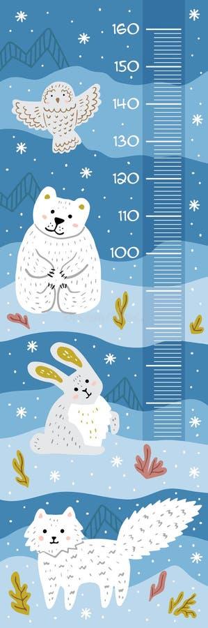 Mur de mètre avec les animaux mignons de Pôle Nord de bande dessinée Fond pour une carte d'invitation ou une félicitation Descrip illustration libre de droits