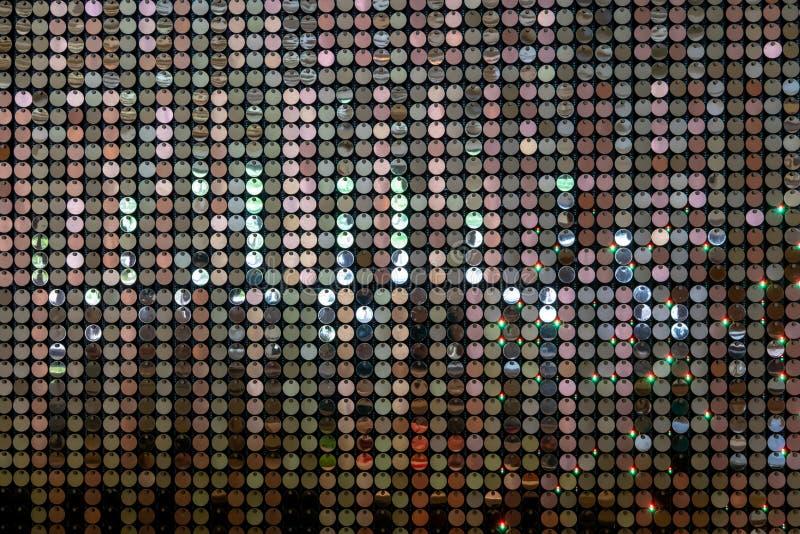 Mur de paillette avec la réflexion de la lumière pour la décoration de luxe de mur intérieur image stock