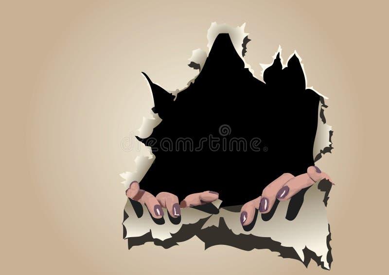 Mur de papier de larme de mains illustration libre de droits