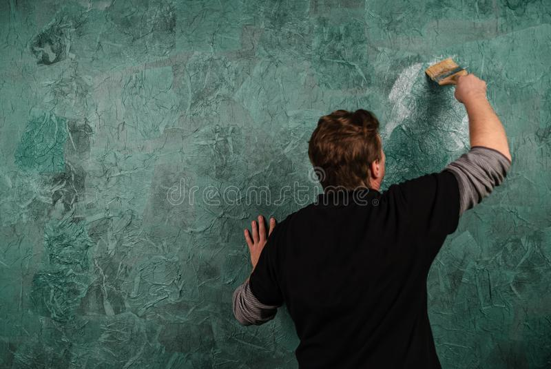 Mur de peinture avec la brosse L'Ukraine, janvier 2019 illustration de vecteur