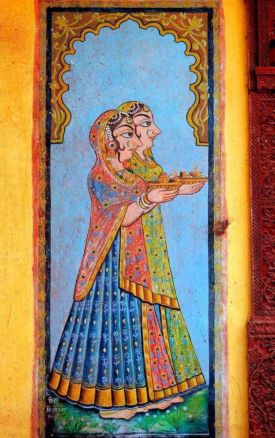 mur de peinture de jaisalmer de l'Inde photographie stock libre de droits