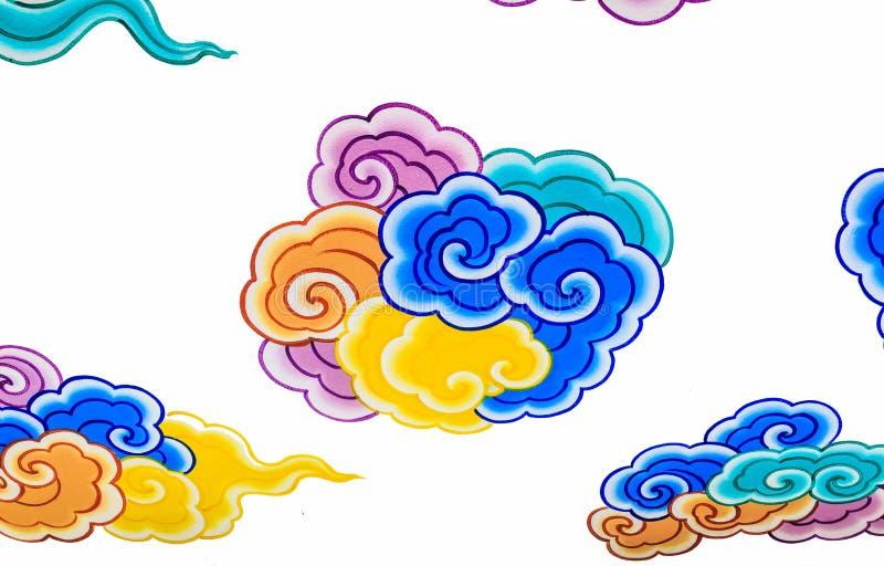 Mur de peinture de nuage dans le temple chinois photos stock