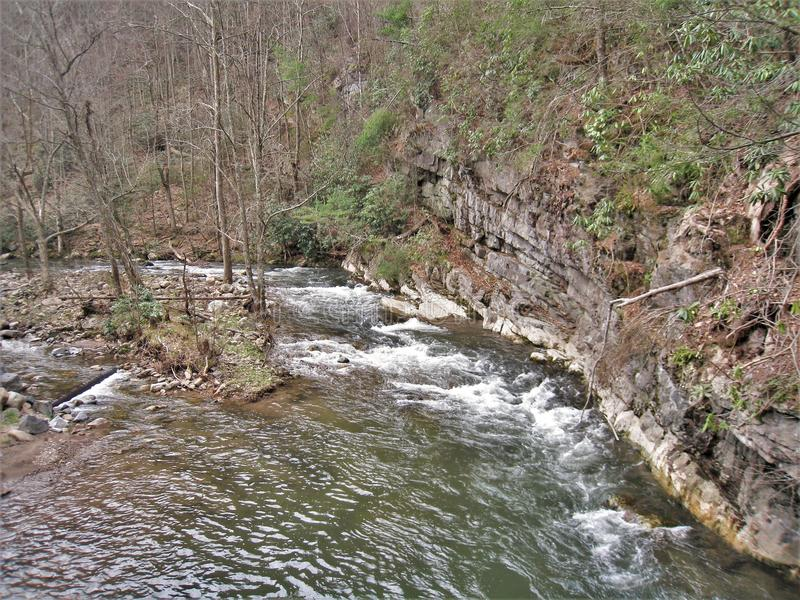 Mur de roche le long de Whitetop Laurel Creek photos libres de droits