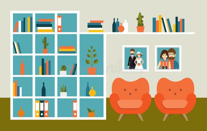 Mur de salon avec les fauteuils et les étagères à livres oranges illustration libre de droits