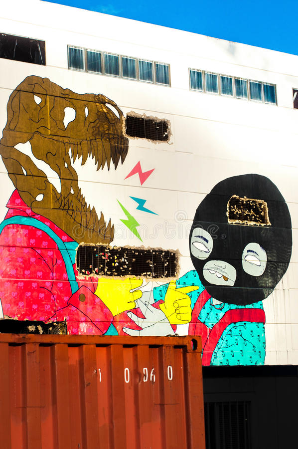 Mur de sud de C.C d'Art Yards photo stock