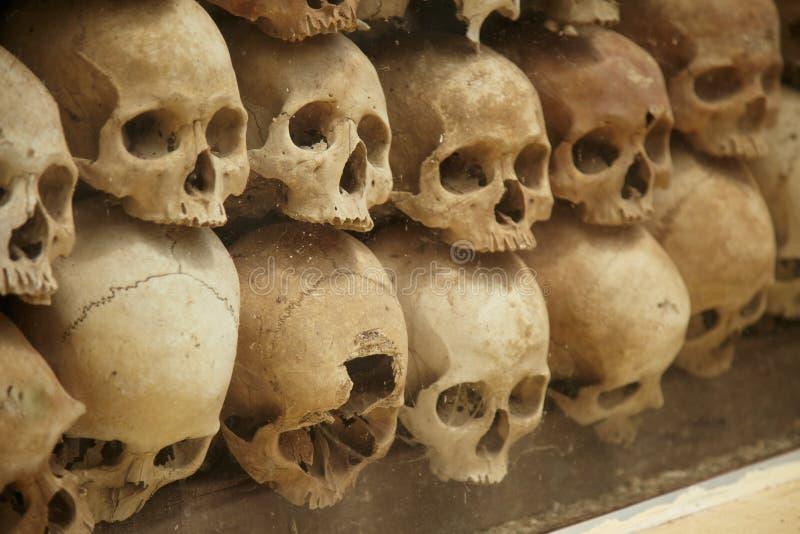 Mur de vieux crânes humains photos libres de droits