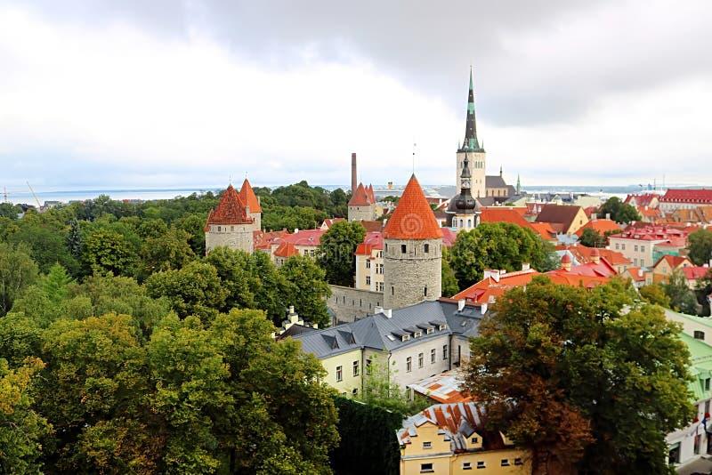 Mur de ville de Tallinn et vue de St Olaf Church, Estonie photo libre de droits