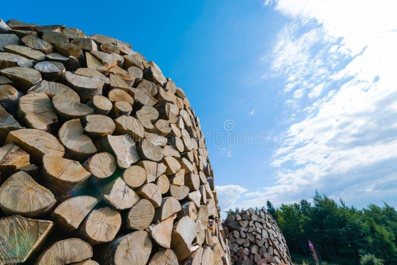 Mur des rondins en bois empil?s comme fond photos libres de droits