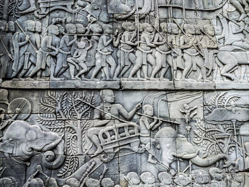 Mur du temple antique d'Angkor photos stock