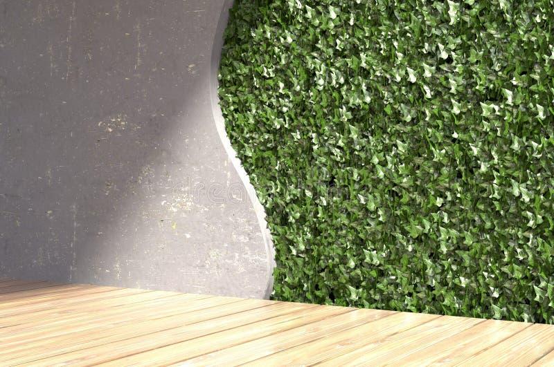Mur en béton avec les feuilles vertes dans l'intérieur moderne illustration 3D image stock