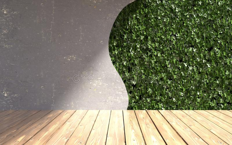 Mur en béton avec les feuilles vertes dans l'intérieur moderne illustration 3D photographie stock libre de droits